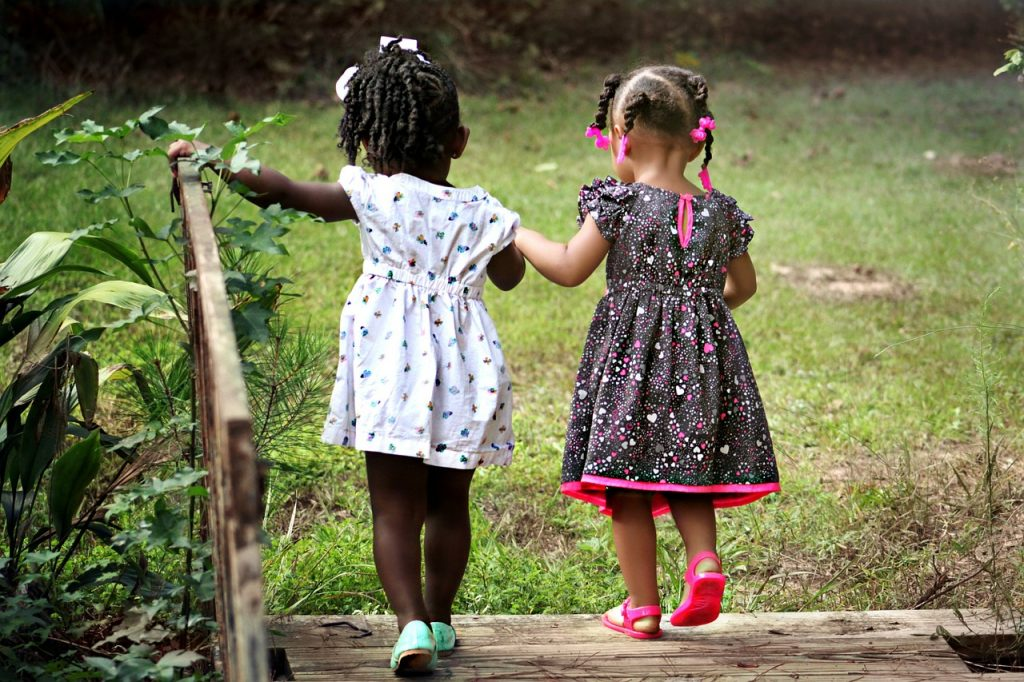 Little girls walking Stimulating Cognition